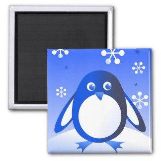 Retro Penguin Square Magnet