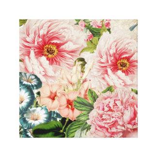 Retro Peony Flower Spring Floral Pattern Canvas Print