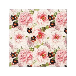 Retro Peony Flower Spring painterly Pattern Canvas Print