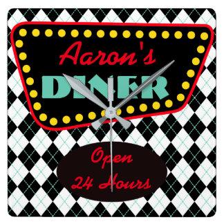 Retro Personalized Diner Kitchen Clock Gift