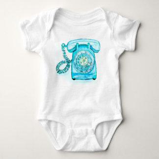 Retro Phone Turquoise Rotary Vintage Blue Baby Bodysuit