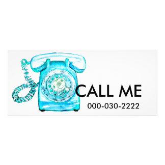 Retro Phone Turquoise Rotary Vintage Blue Rack Card