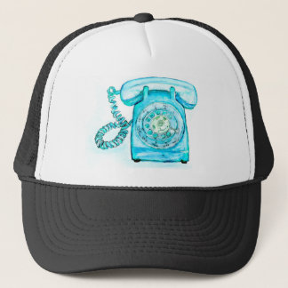 Retro Phone Turquoise Rotary Vintage Blue Trucker Hat