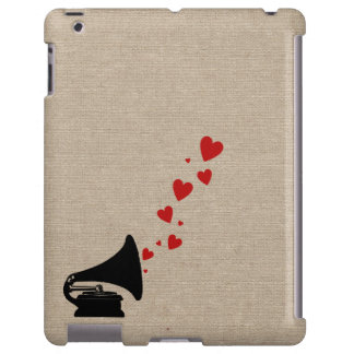 Retro phonograph stereo music lover hipster hearts
