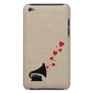 Retro phonograph stereo music lover hipster hearts barely there iPod cases