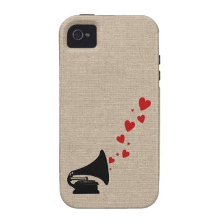 Retro phonograph stereo music lover hipster hearts vibe iPhone 4 case