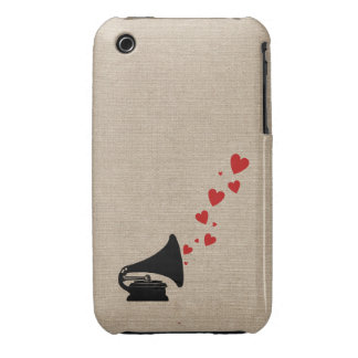 Retro phonograph stereo music lover hipster hearts iPhone 3 Case-Mate cases