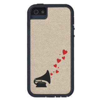 Retro phonograph stereo music lover hipster hearts case for iPhone 5