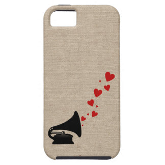 Retro phonograph stereo music lover hipster hearts iPhone 5 case