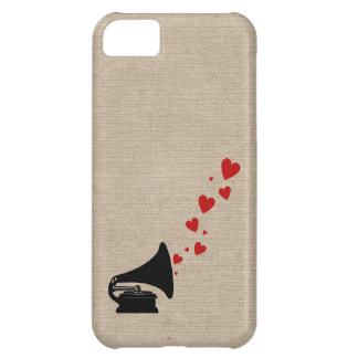 Retro phonograph stereo music lover hipster hearts iPhone 5C case