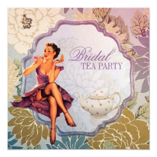 "retro pin up girl floral Bridal Shower Tea Party 5.25"" Square Invitation Card"