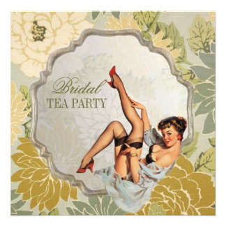 retro pin up girl floral Bridal Shower Tea Party Personalized Invitations