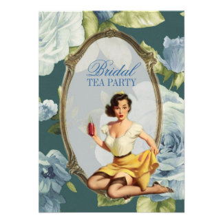 retro pin up girl rose Bridal Shower Tea Party Personalized Invitations