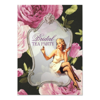 "retro pin up girl rose Bridal Shower Tea Party 4.5"" X 6.25"" Invitation Card"