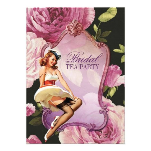 retro pin up girl rose Bridal Shower Tea Party Personalized Announcement