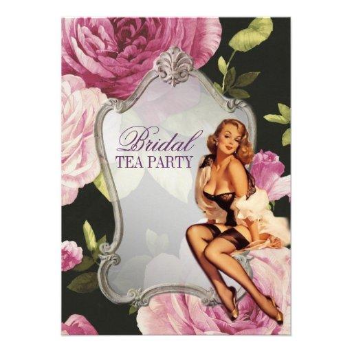retro pin up girl rose Bridal Shower Tea Party Custom Invitations
