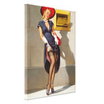 Retro Pin-Up Girl Stretched Canvas Print