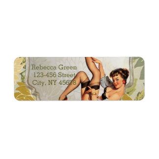 retro pin up girl vintage Bridal Shower Tea Party Return Address Label