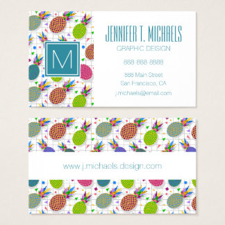 Retro Pineapple Pattern Business Card