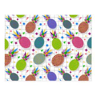 Retro Pineapple Pattern Postcard