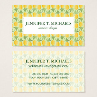 Retro Pineapples | Monogram Business Card