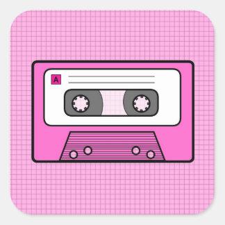 "Retro Pink 80""s Mixtape Square Stickers"