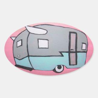 Retro Pink Airstream Trailer Oval Sticker