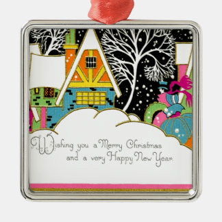 Retro Pink and Turquoise Christmas Houses Silver-Colored Square Decoration