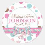 Retro Pink & Aqua Polka Dots Announcement Stickers