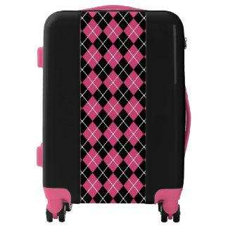 Retro Pink Argyle Luggage