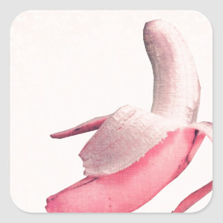 Retro Pink Banana Art Square Sticker