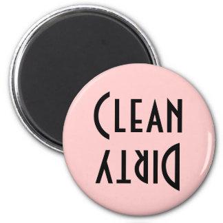 Retro Pink & Black Clean/Dirty Dishwasher Magnet