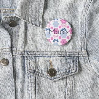 Retro Pink/Blue Customisable Flowers Badge