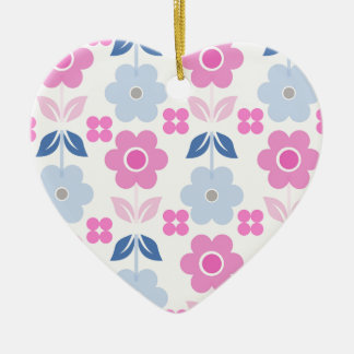 Retro Pink/Blue Flowers Dble-sided Heart Ornanent Ceramic Ornament