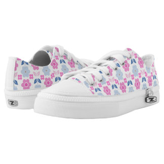 Retro Pink/Blue Flowers Low Tops