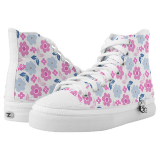 Retro Pink/Blue Flowers Zipz High Top Shoes