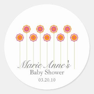 retro pink daisy BABY SHOWER custom party favor Round Sticker