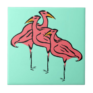 Retro Pink Flamingo Birds Flock on Aqua Blue Tile