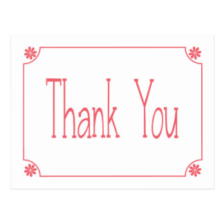 Retro Pink Floral Thank You Greeting Post Card