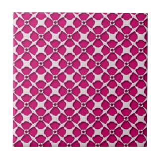 Retro Pink Flower Pattern Girly Ceramic Tiles