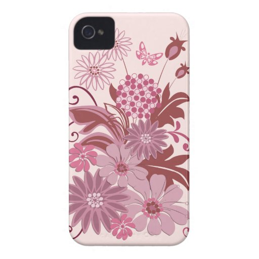 Retro Pink Flowers and Leaves iPhone 4 Cases