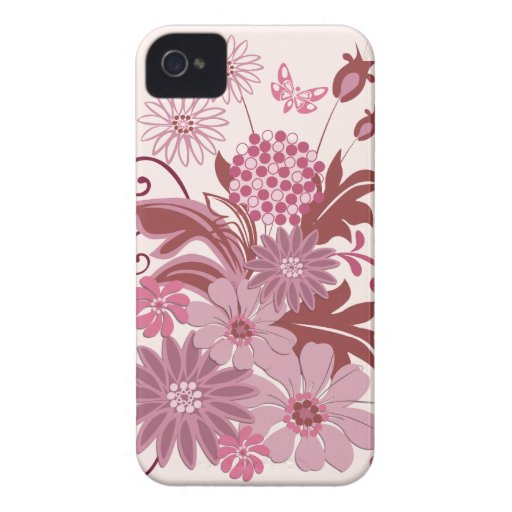 Retro Pink Flowers and Leaves Case-Mate Blackberry Case