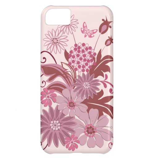 Retro Pink Flowers and Leaves iPhone 5C Covers