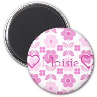 Retro Pink Flowers Customisable Round Magnet