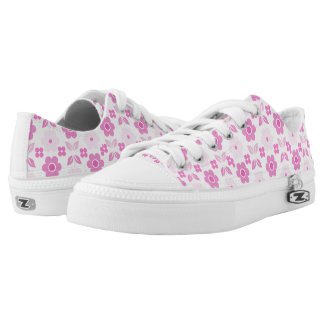 Retro Pink Flowers Low Tops