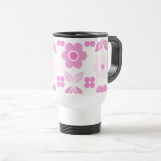 Retro Pink Flowers Travel/Commuter Mug