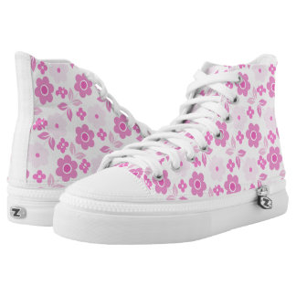 Retro Pink Flowers Zipz High Top Shoes