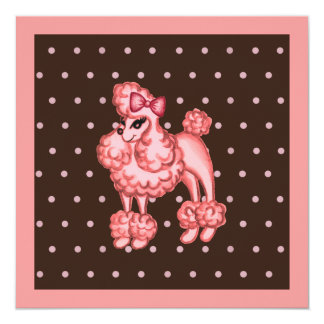 Retro Pink French Poodle Party Invitations