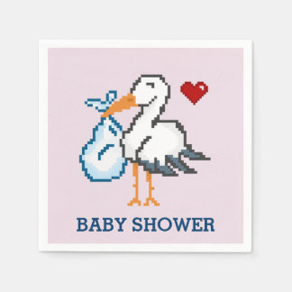 Retro Pink Gamer Baby Shower Stork Napkins Paper Napkin