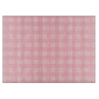 Retro Pink Gingham Checkered Pattern Background Cutting Board